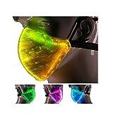 Máscara de 7 colores con luz LED emisora de luz USB, recargable por USB, máscara de polvo para fiestas de Navidad, festivales, bailes, carnavales, disfraces de máscaras (máscara)