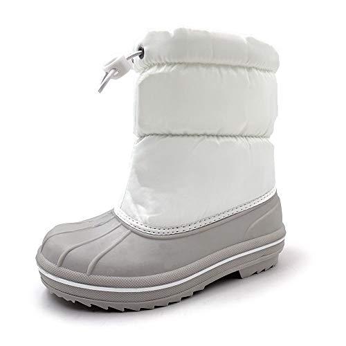 Amoji Kid Duck Snow Boots Waterproof Warm Faux Fur Lined boy Outdoor Boots Girl Winter Shoes White 2.5-3 Little Kid
