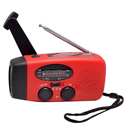 HETUI Lámpara de Escritorio de Radio de Banda Completa con Linterna de generación de energía de Mano de energía Solar (Rojo)