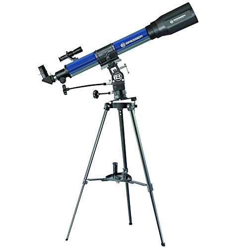 Bresser junior Teleskop Refraktor 70/900 EL mit wahlweise äquatorialer oder azimutaler Aufstellung inklusive Montierung, Stativ und umfangreichem Zubehör