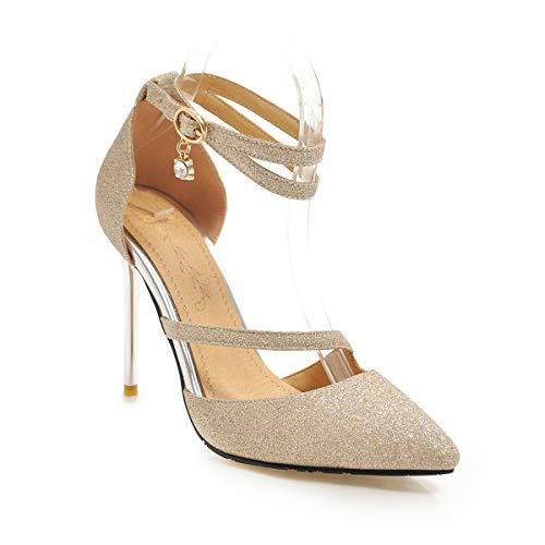 ZD401S - Sandalias de tacón alto para mujer con 10 cm, cómodas y fáciles de caminar, para fiestas y fiestas, talla grande, color Blanco, talla 41.5 EU
