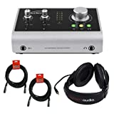 Audient iD14 High Performance USB Audio Interface with R100 Stereo Headphones (Black) and 20' XLR Calble