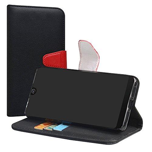 LiuShan Wiko View 2 Pro Hülle, Brieftasche Handyhülle Schutzhülle PU Leder mit Kartenfächer & Standfunktion für Wiko View 2 Pro (6 Zoll) Smartphone (mit 4in1 Geschenk verpackt),Schwarz
