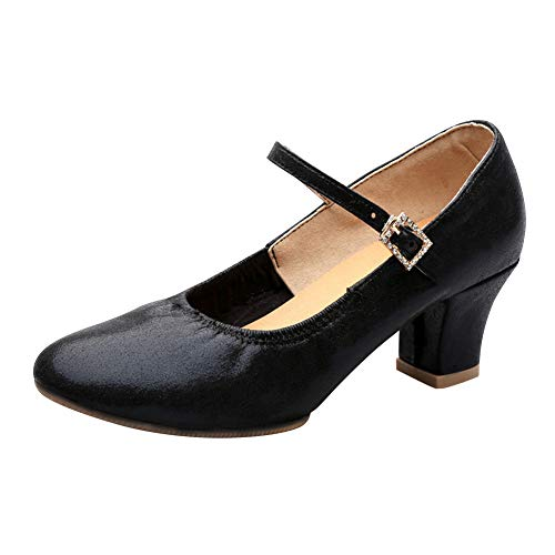 Huatime Modern Tanzschuhe Schuhe Damen - Frauen Leder Niedrig Block Absatz Sandalen Mary Jane Tanzen Latein Tango Jazz Salsa Rumba Ballsaal Performance Partei Sport
