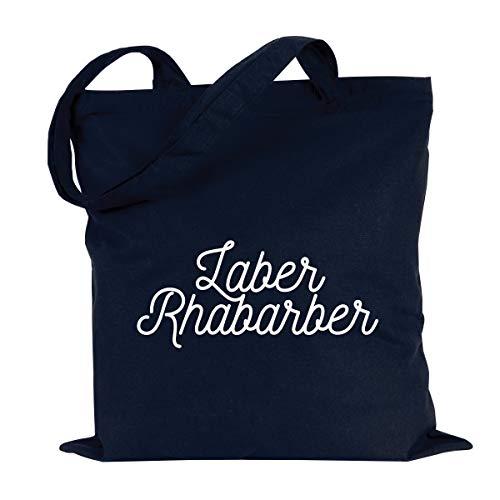 JUNIWORDS Jutebeutel, Wähle ein Motiv & Farbe, Laber Rhabarber (Beutel: Marine Blau, Text: Weiß)