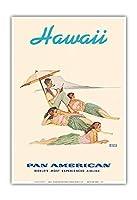 ハワイ - フラダンサー - パンアメリカン航空 - ビンテージな世界旅行のポスター によって作成された ノーマン・ロックウェル c.1956 - アートポスター - 33cm x 48cm