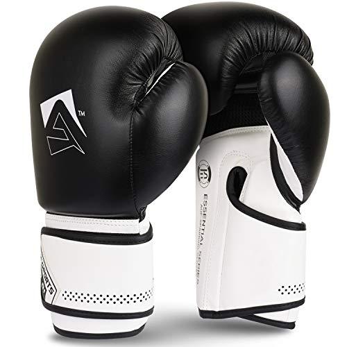 AQF Guantes De Boxeo para MMA Muay Thai Boxing Bag Guantes Boxeo De Kick Boxing Saco De Boxeo De Pie Y Punching con Capas Extra De Acolchado (Negro, 16oz)