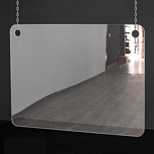 Mampara de protección | Metacrilato Transparente 2mm | Mampara Colgante Transparente (70 cm ancho x 50 cm alto)