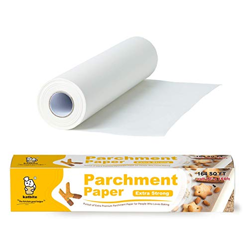 Katbite Heavy Duty Parchment Paper Roll for Baking, 12 in x 164 ft Non-Stick Baking Paper for Cooking, Baking Cookies, Grilling, Air Fryer and Steaming (1Pack)