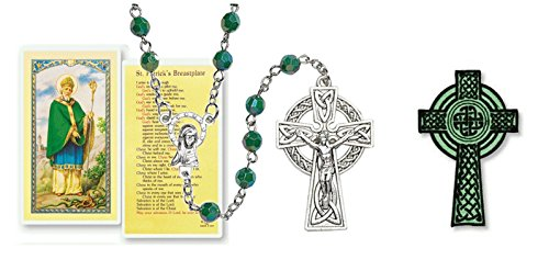 Gifts by Lulee, LLC Saint Patrick of Ireland Green Quartz Cristal Faceted Rondelle 8mm Beads Rosary with Silver Plated Celtic Crucifix Includes a Blessed Prayer Card and a Celtic Cross Iron on Patch