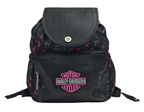 Harley-Davidson Girls' Bar & Shield Cinch Top Flowered Backpack, Black 7130515