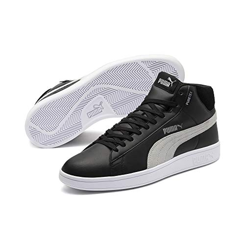 PUMA Smash v2 Mid PureTEX High-Tops Puma Black-Quarry-Puma White UK 10_Adults_FR 44.5