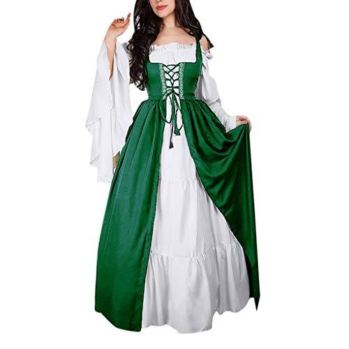 REALIKE Damen Kleid Vintage Mittelalterliche Kleid mit Trompetenärmel Mittelalter Party Kostüm Maxikleid Sommer Abendkleid Partykleid Festlich Cocktailkleid Ballkleid