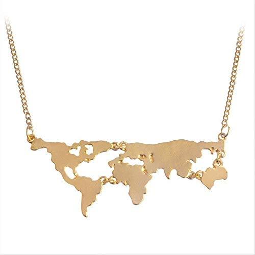 Zaaqio Collar Oro Negro Plata Color Globo Mundo Mapa Colgante Collar Personalidad Maestro Regalos Joyería de la Tierra