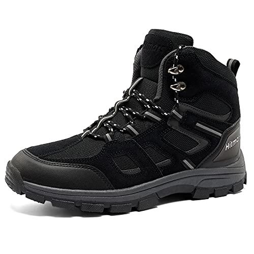 Botas de Senderismo Hombre Zapatos Montaña Exterior Trekking Zapatillas Antideslizantes Ligero Transpirable 2-Negro Eu 42