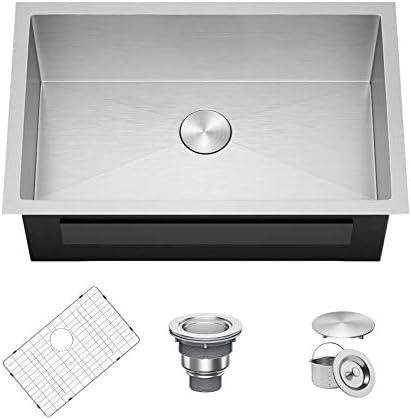 X Home 30 x 18 Inch Undermount Kitchen Sink Single Bowl 16 Gauge Stainless Steel Kitchen Workstation product image