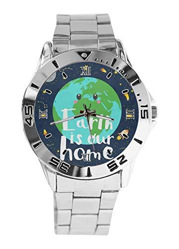 Earth is Our Home, orologio da polso da uomo, alla moda, sportivo, casual, cinturino in acciaio inox, analogico, al quarzo, orologio da polso
