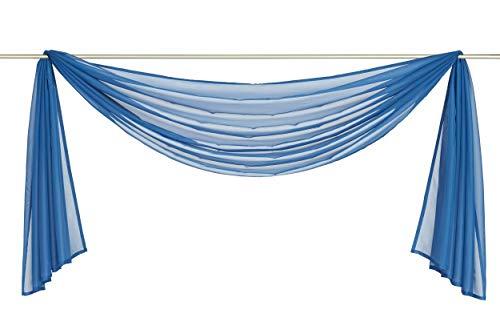 Yaland Voile Transparenter Freihandbogen einfarbig Uni Querbehang Wohnzimmer Gardinenschals (BxH 140x400, blau) 1 Stück