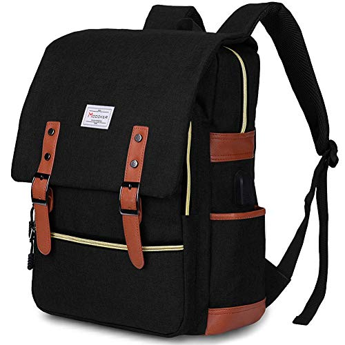 Modoker Vintage Laptop Backpacks for Mens Rucksack Casual Daybacks 15.6 Inch with USB Charging Port, Black