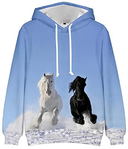 Abluewhale 3D Novelty Kapuzenpullover Mädchen Damen Zebra Hoodie Pferd Sweatshirt Fanny Hoodie(k,M)
