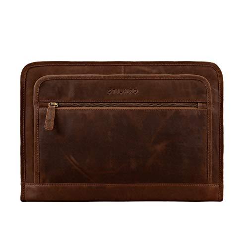 STILORD 'Maximilian' Dokumentenmappe Leder 13,3 Zoll Vintage Schreibmappe MacBook Aktentasche Aktenmappe, Farbe:mittel - braun