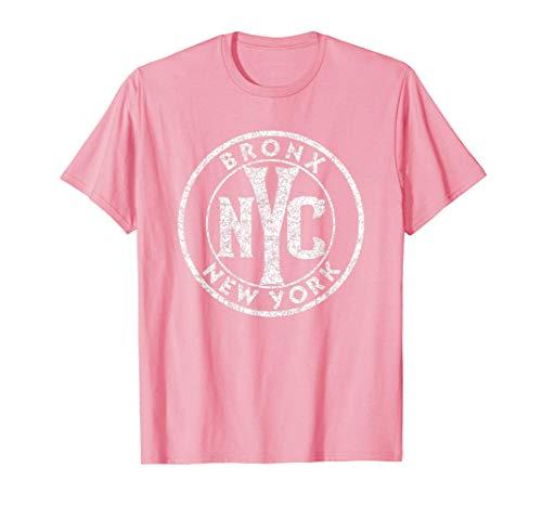 Bronx New York Vintage Sign Pink w Distressed White Print Camiseta
