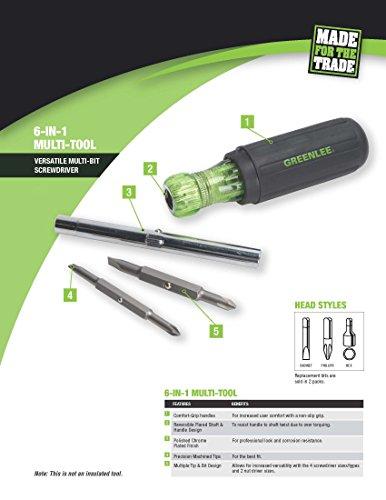 Greenlee 0153-42C Multi-Tool Screwdriver, 6 in 1,Black