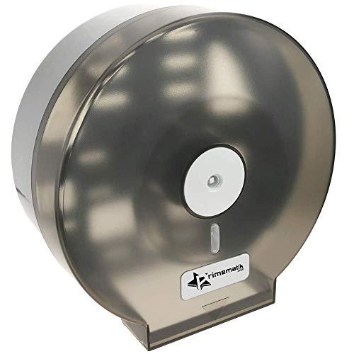 PrimeMatik - Dispensador de Papel higiénico. Portarrollos Industrial Negro para baño 268x123x273mm