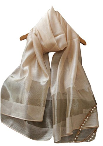 (エスエヌケー)SNK  冷房対策 シルク シフォンの華やかストール・ショール・スカーフ 薄手 羽織り (GOLD)