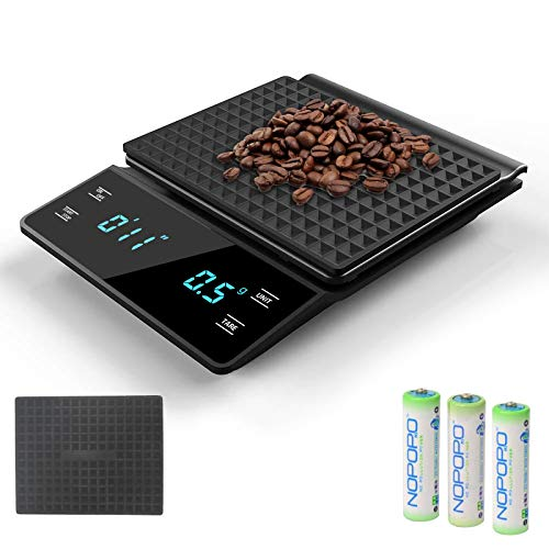 3T6B Elektronische Kaffeewaage, Präzisions-Küchenröstwaage 0,1 g Waage Lebensmittelwägung, Digital Kaffee Skala LED-Anzeige 3000 g Waage Kaffee(Enthält 3 Batterien)