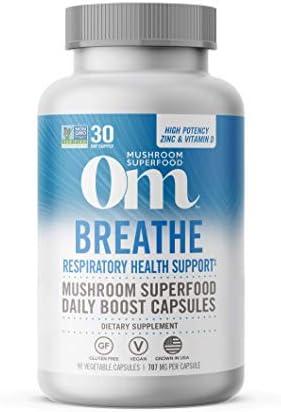 Om Breathe Mushroom Capsules Cordyceps Reishi Chaga Turkey Tail Mushroom Blend Vitamin D Zinc product image