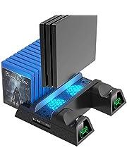 PS4スタンド PS4 縦置きスタンド OIVO PS4 コントローラ充電スタンド2台 PS4/PS4 Pro/Slim/スリム 高互換性 PS4冷却スタンド 青LED付冷却ファン 充電 冷却 収納
