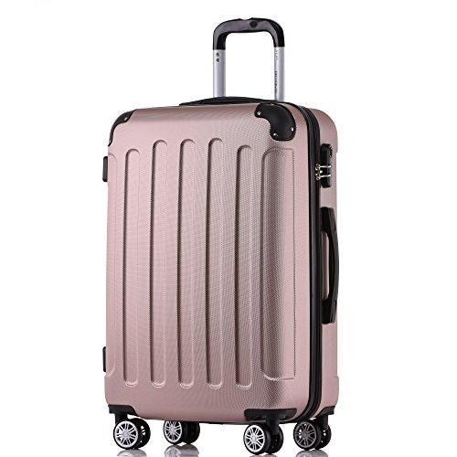 BEIBYE Zwillingsrollen Hardcase Reisekoffer Koffer Trolleys Hartschale in XL-L-M in 14 Farben (Rosagold, Mittler Koffer (66cm))