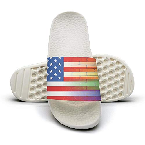 Mens Guys Classic Slipper Gay Rainbow Wall American Flag White Water-Resistant Open Toe Flat Home Slides Shoes
