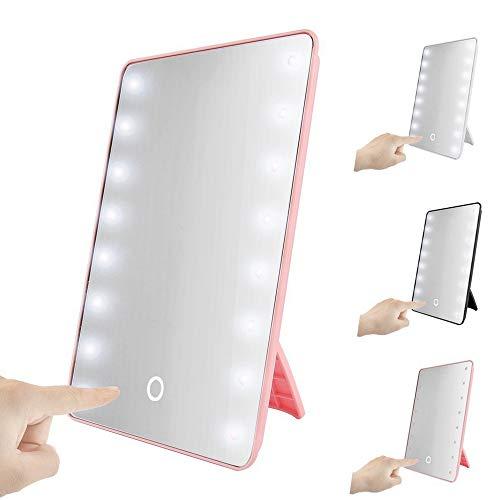 Mintice Rose Portable 22 LED écran Tactile éclairé Miroir cosmétique de Maquillage Table de Bain