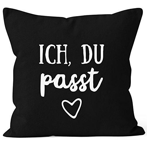 MoonWorks Kissen-Bezug Valentinstag Liebe Ich du passt Kissen-Hülle Deko-Kissen Baumwolle schwarz 40cm x 40cm