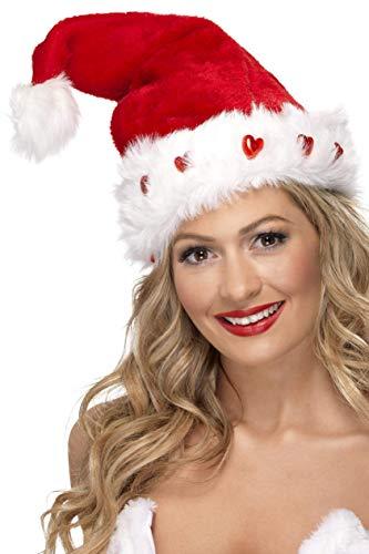 Smiffys Bonnet de Père Noël qui s'allume, Rouge, Deluxe
