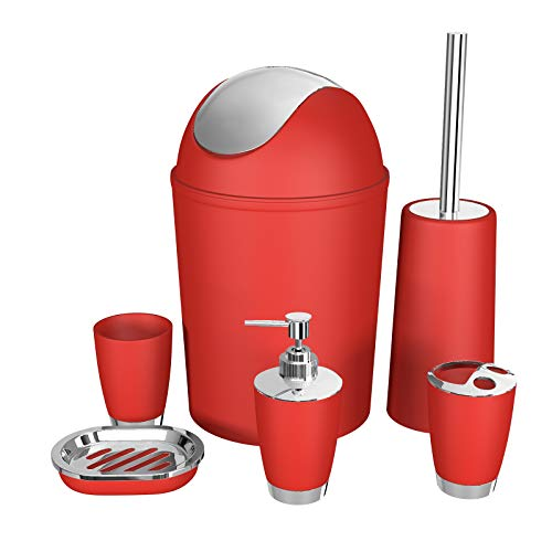 Bathroom Accessories Set, 6 Pieces Plastic Gift Set Bathroom Accessory Luxury Bathroom Set Includes Toothbrush Holder,Toothbrush Cup,Soap Dispenser,Soap Dish,Toilet Brush Holder,Trash Can(Red)