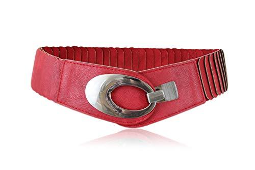 irisaa breiter Damen Gürtel Elastischer Taillengürtel, Hüftgürtel Stretch Gürtel mit Hakenverschluss, Damen Taillengürtel 2020:Rot, Damen Taillengürte Größe:ONE SIZE