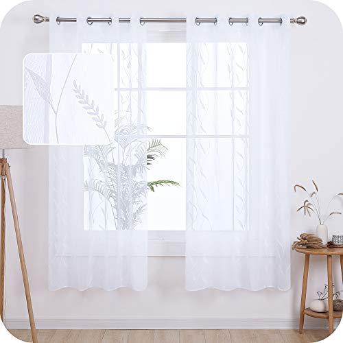 UMI. by Amazon 2 Stück Gardinen Leinenoptik Transparent Ösenvorhang Vorhangschals mit Weizen Stickerei 175x140 cm Weiß