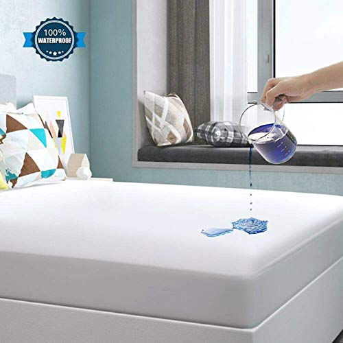 Yoofoss Waterproof Mattress Protector Fitted Mattress Cover Stretches up to 36cm Deep Lightweight Breathable & Hypoallergenic 100% Tencel Sheet (Double, 140 x 200 cm)