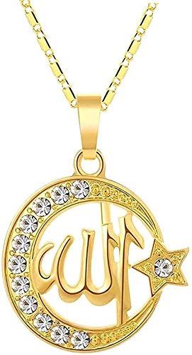 LBBYLFFF Collar Collar de Moda islámica Collar con Colgante musulmán Hombres Mujeres Joyería Zirconita Luna cúbica y Estrella Religión Joyería Musulmana Collar de Mujer Longitud 45cm