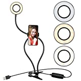 XINBAOHONG Selfie Ring Light with Cell Phone Holder Stand for Live Stream & Makeup,LED Camera Light with Lazy Bracket for Video/Photography, Desk Lamp for Bedroom, Office, Kitchen, Bathroom