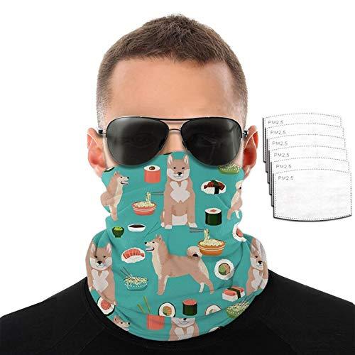 CAOMEII Shiba Inu und Sushi Neck Gaiter Gesichtsmaske Wiederverwendbar, Tuch Waschbare Bandana Gesichtsmaske, Abdeckung Sturmhaube Schal Schild