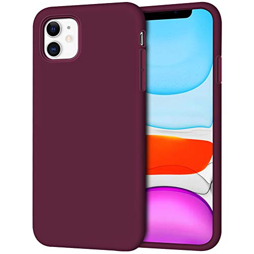 iPhone 11 Case, Anuck Soft Silicone Gel Rubber Bumper Phone Case with Anti-Scratch Microfiber Lining Hard Shell Shockproof Full-Body Protective Case Cover for Apple iPhone 11 6.1 inch 2019 - Wine Red