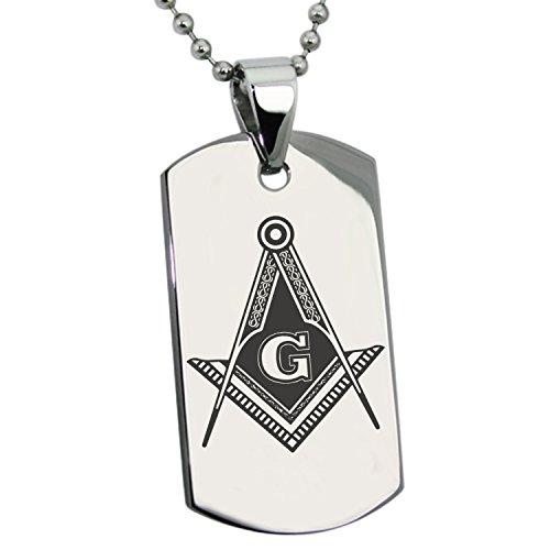 Tioneer Stainless Steel Freemasons Masonic Royal Compass Symbol Dog Tag Pendant Necklace