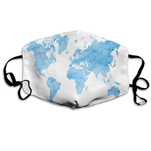 Multifunktionale Gesichtsschutzhülle,Blue Watercolor Style World Map Artistic Pastel Colored Display of Continents,edruckte Wiederverwendbare Unisex-Gesichtsdekorationen,Persönlicher Schutz