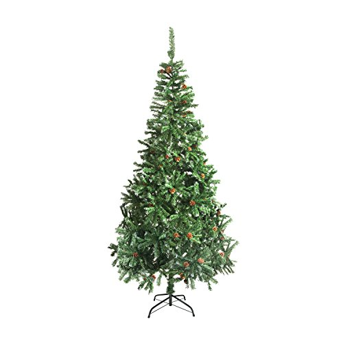 ALEKO CTPC59H17 Artificial Holiday Christmas Tree Snow Dusted Premium Pine with Stand and Pine Cones 5 Foot Green and White