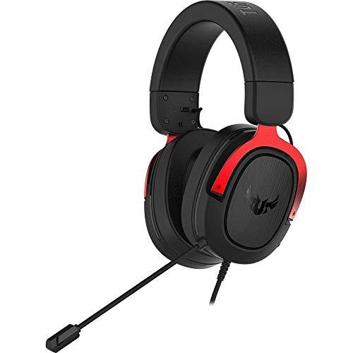 ASUS TUF Gaming H3 - Auriculares de gaming para PC, PS4, Xbox One, Mac, Nintendo Switch y telefonos móvilescon sonido envolvente 7.1, graves potentes, diseño ligero, rojo