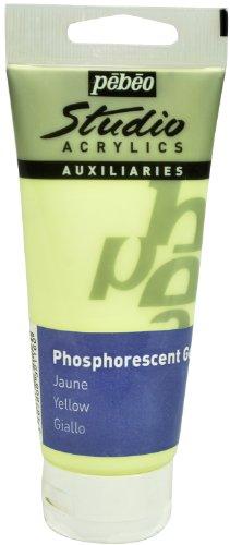 Pébéo – Studio Acrílics 100 ml Gel fosforescente Amarillo – Enlace acrílico Pintura fosforescente autoluminiscente – Amarillo 100 ml